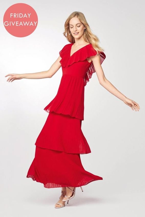 next red pleated dress