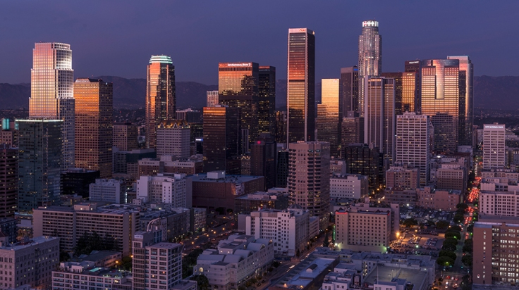 Skyline view of Los Angeles, California.