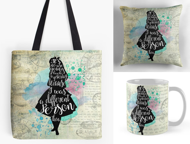 alice in wonderland tote bag mug & cushion