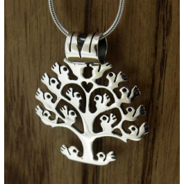 orbed tree of life silver pendant