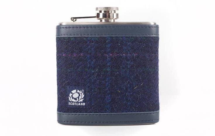 tweed hip flask