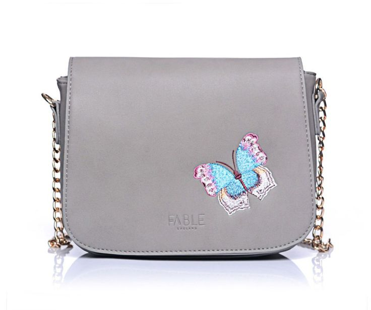 fable grey butterfly handbag