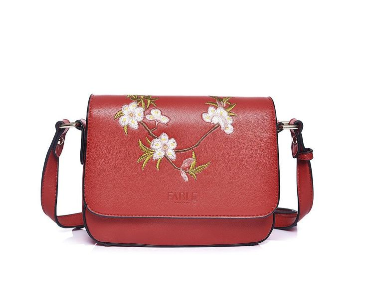 red floral handbag